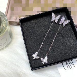 NEW Silver Pave Diamond Butterfly Drop Earrings